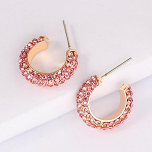 Fearless Crystal Hoops Earrings elliesage Pink Champagne