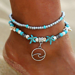 Ocean Essence Double Layer Anklet Anklet Ellie Sage Tidal Wave Pendant