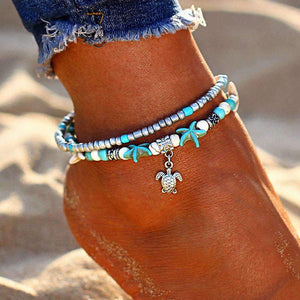 Ocean Essence Double Layer Anklet Anklet Ellie Sage Turtle Pendant