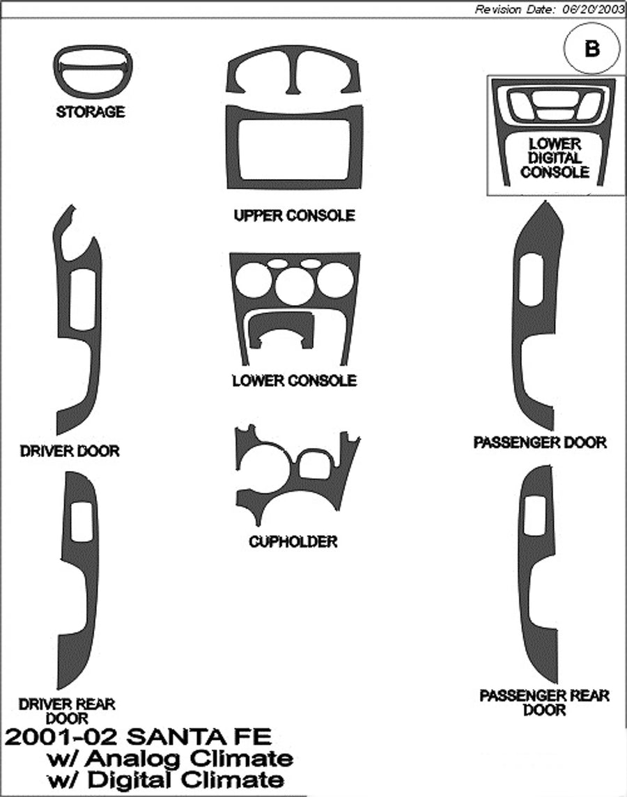 2001-2002 Hyundai Santa Fe Wood Grain Dash Trim Kit - DirectCarTrim