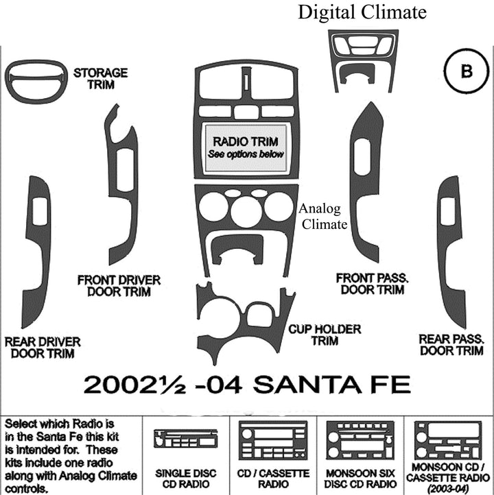 2002-2004 Hyundai Santa Fe Wood Grain Dash Trim Kit - DirectCarTrim