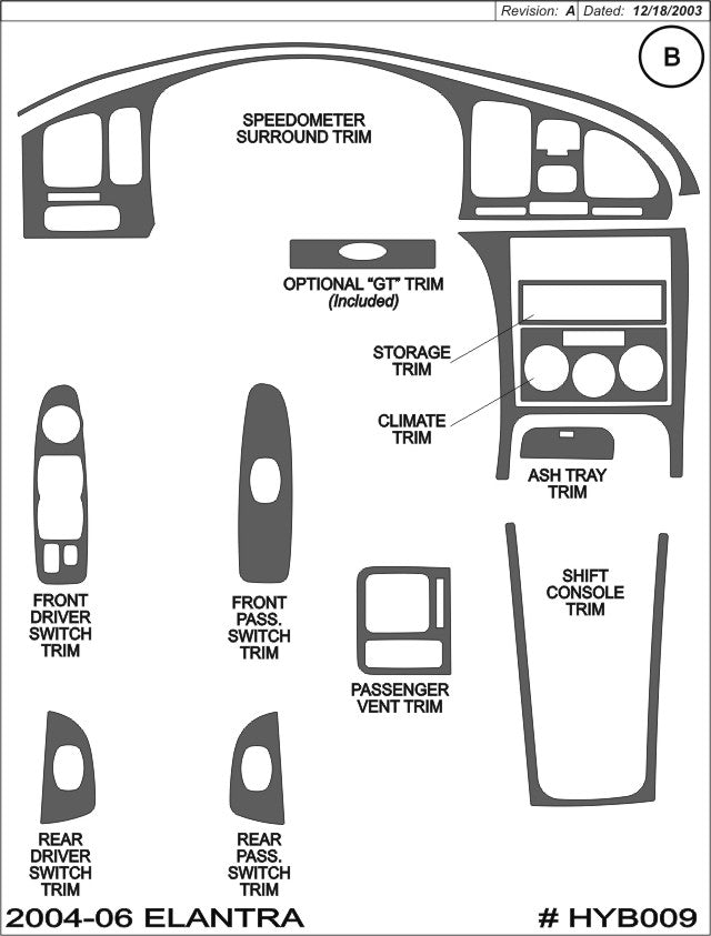 2004-2006 Hyundai Elantra Real Brushed Aluminum Dash Trim Kit - DirectCarTrim