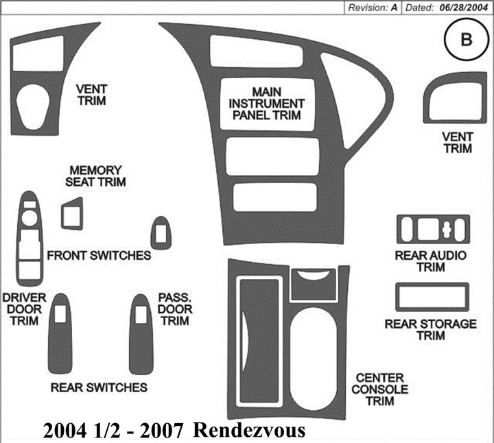 2004.5-2007 Buick Rendezvous Wood Grain Dash Trim Kit - DirectCarTrim