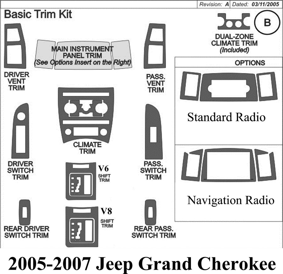2005-2007 Jeep Grand Cherokee Wood Grain Dash Trim Kit - DirectCarTrim