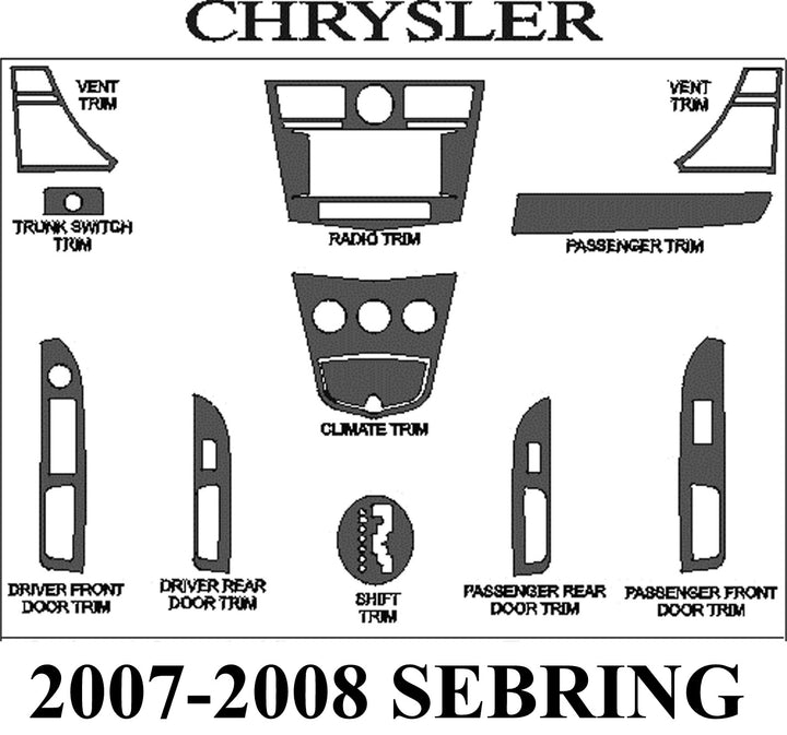 2007-2008 Chrysler Sebring Real Brushed Aluminum Dash Trim Kit - DirectCarTrim