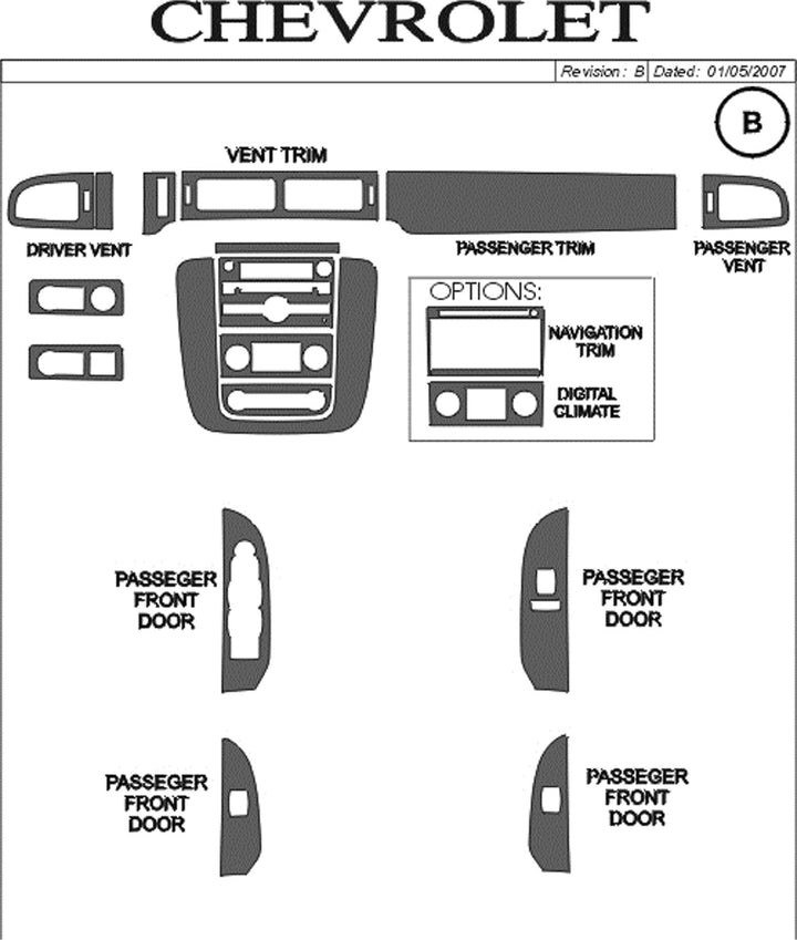 2007-2011 Chevy Avalanche Real Brushed Aluminum Dash Trim Kit - DirectCarTrim