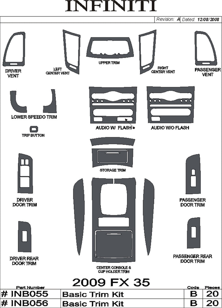 2009+ Infiniti FX 35/45 Real Carbon Fiber Dash Trim Kit - DirectCarTrim