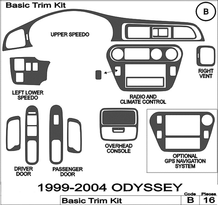 1999-2004 Honda Odyssey Real Brushed Aluminum Dash Trim Kit - DirectCarTrim