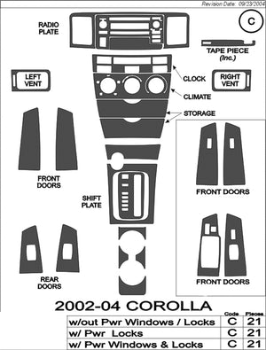 2002-2004 Toyota Corolla Wood Grain Dash Trim Kit - DirectCarTrim