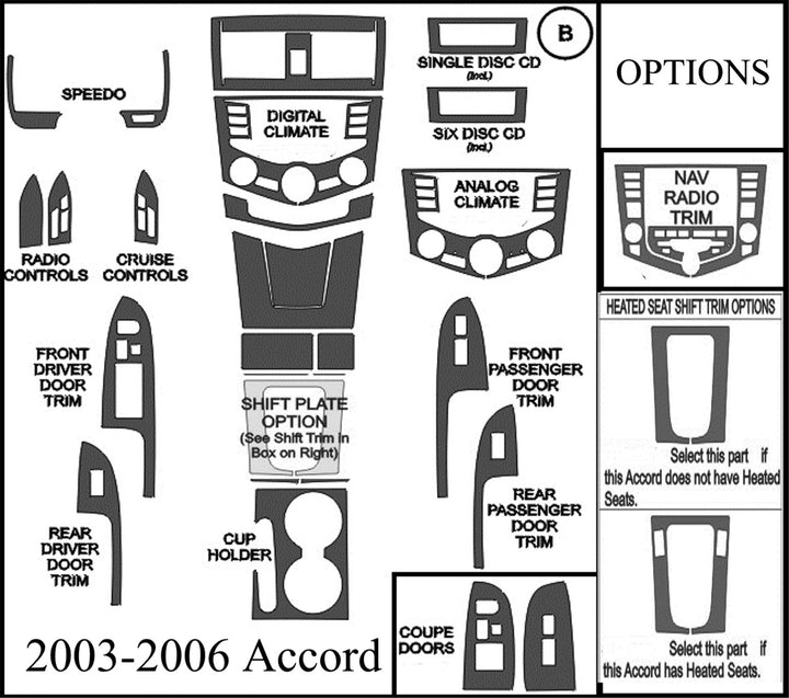 2003-2006 Honda Accord Wood Grain Dash Trim Kit - DirectCarTrim