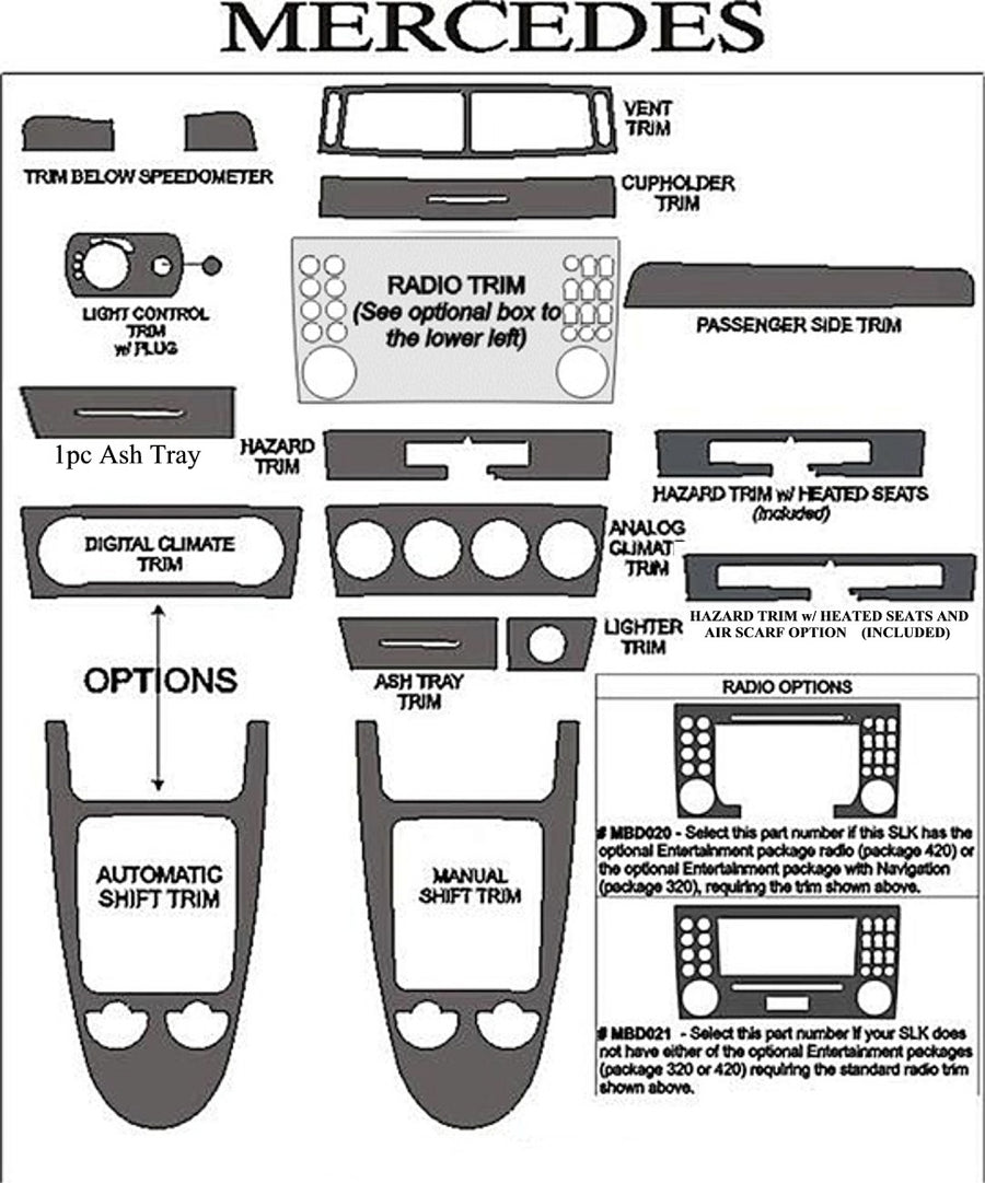2005-2008 Mercedes Benz SLK Real Brushed Aluminum Dash Trim Kit - DirectCarTrim