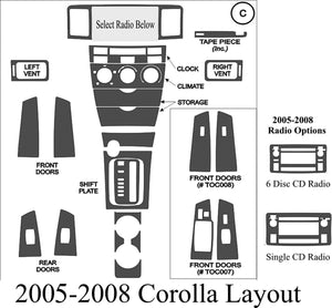 2005-2008 Toyota Corolla Real Brushed Aluminum Dash Trim Kit - DirectCarTrim