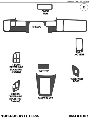 1989-1993 Acura Integra Real Brushed Aluminum Dash Trim Kit - DirectCarTrim