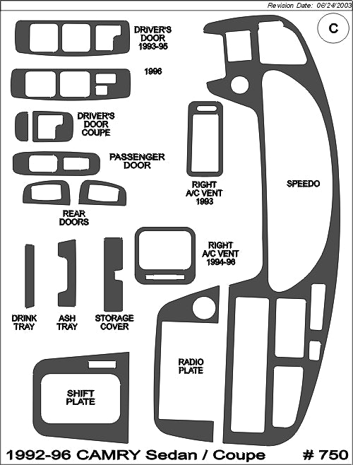 1992-1996 Toyota Camry Real Brushed Aluminum Dash Trim Kit - DirectCarTrim