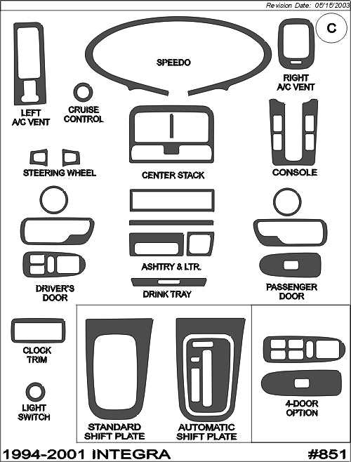 1994-2001 Acura Integra Real Brushed Aluminum Dash Trim Kit - DirectCarTrim