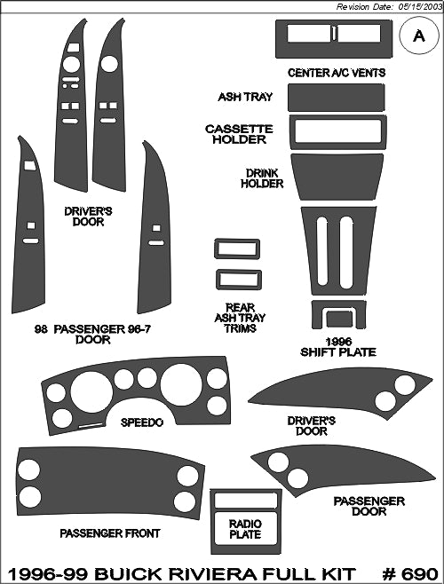 1996-1999 Buick Riviera Real Carbon Fiber Dash Trim Kit - DirectCarTrim