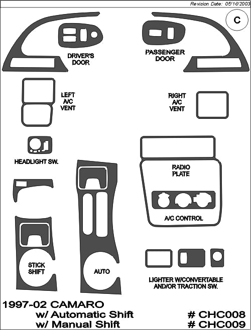 1997-2002 Chevy Camaro Real Brushed Aluminum Dash Trim Kit