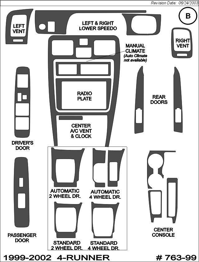 1999-2002 Toyota 4-Runner Real Brushed Aluminum Dash Trim Kit - DirectCarTrim
