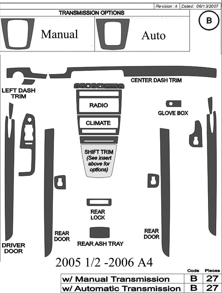 2005.5-2006 Audi A4 Real Brushed Aluminum Dash Trim Kit - DirectCarTrim