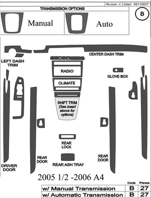 2005.5-2006 Audi A4 Real Carbon Fiber Dash Trim Kit - DirectCarTrim