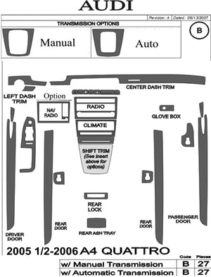 2005.5-2006 Audi A4 Quattro Wood Grain Dash Trim Kit - DirectCarTrim