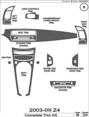 2003-2008 BMW Z4 Real Brushed Aluminum Dash Trim Kit - DirectCarTrim