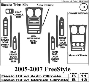 2005-2007 Ford FreeStyle Real Brushed Aluminum Dash Trim Kit - DirectCarTrim