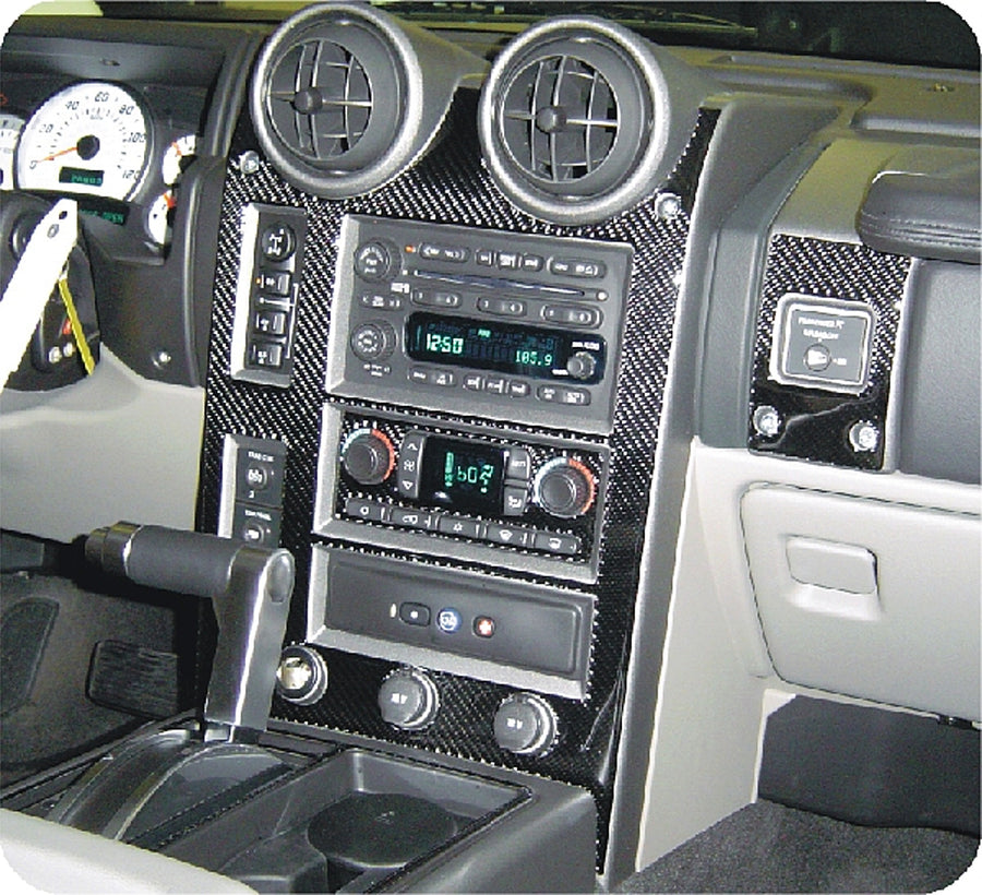 2004-2007 Hummer H2 Real Carbon Fiber Dash Trim Kit - DirectCarTrim