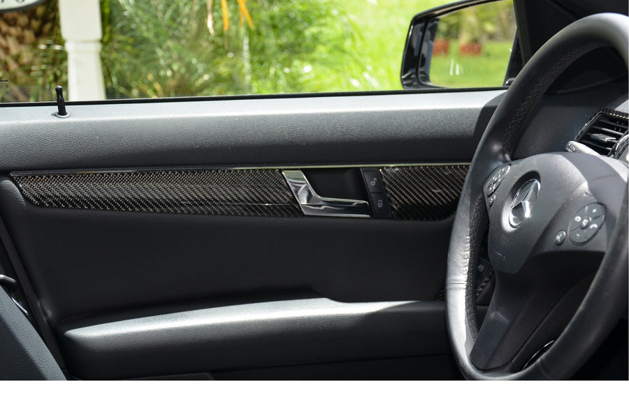 2008-2011 Mercedes Benz C-Class Sedan Complete Real Carbon Fiber Dash Trim Kit - DirectCarTrim