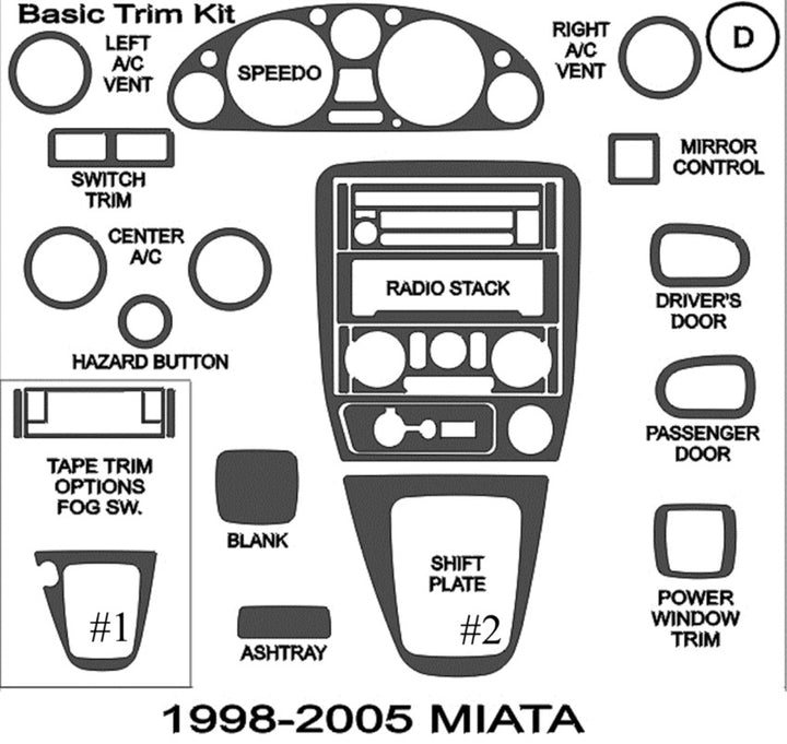 1998-2005 Mazda Miata Real Brushed Aluminum Dash Trim Kit - DirectCarTrim