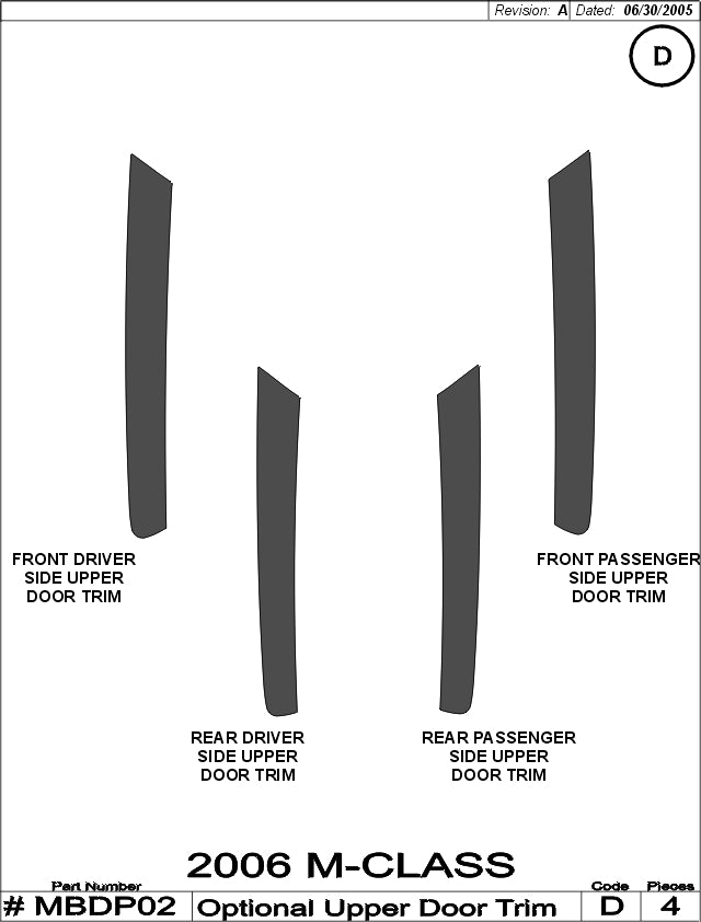 2006-2008 Mercedes Benz ML Real Carbon Fiber Interior Door Trim Kit - DirectCarTrim