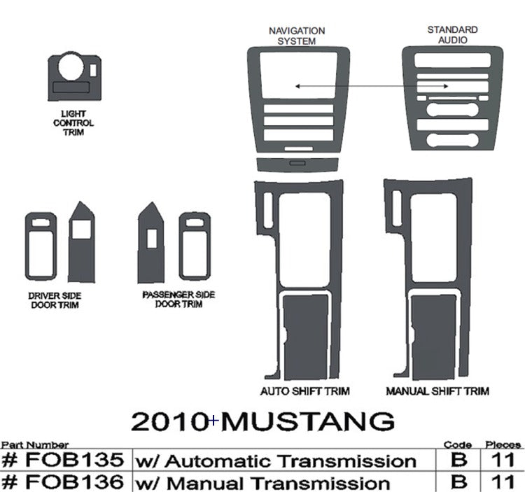2010-2014 Ford Mustang Real Carbon Fiber Dash Trim Kit