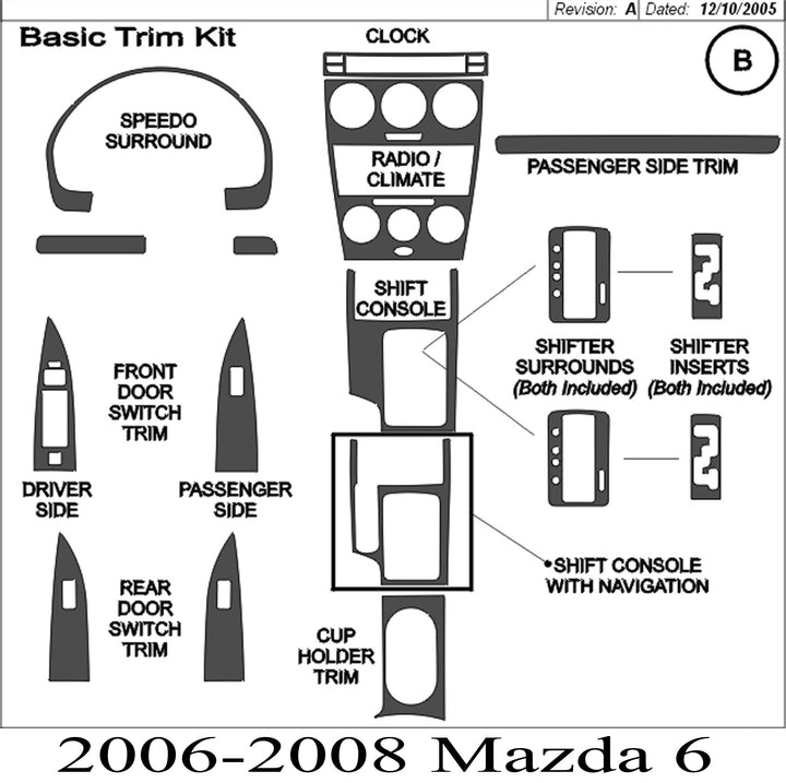 2006-2008 Mazda 6 Real Carbon Fiber Dash Trim Kit - DirectCarTrim