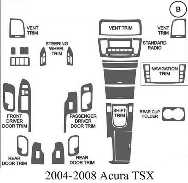 2004-2008 Acura TSX Real Brushed Aluminum Dash Trim Kit - DirectCarTrim