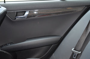 2008-2011 Mercedes Benz C-Class Sedan Real Carbon Fiber Interior Door Trim Kit - DirectCarTrim