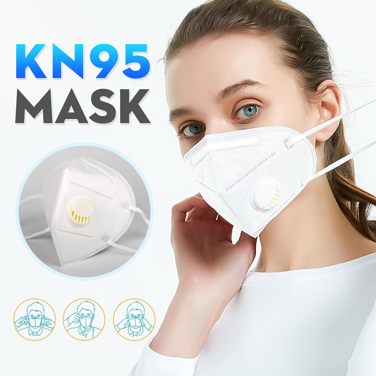 KN95 White Facemask with Valve