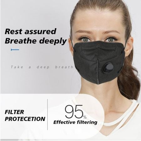 KN95 Black Facemask with Valve (10-50pcs)