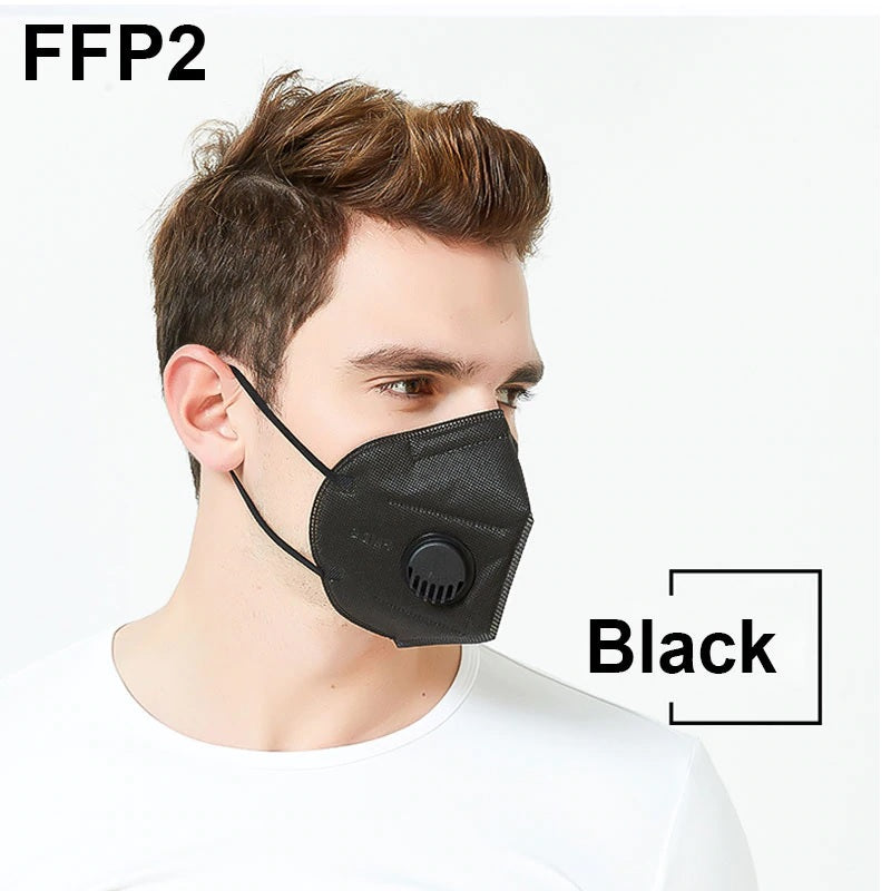 KN95 Black Facemask with Valve
