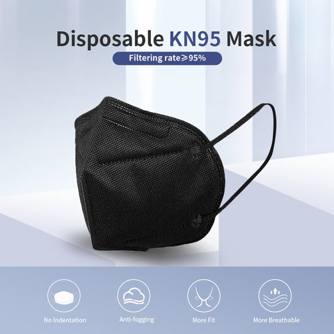 KN95 Black PM2.5 Facemask - 10 pack