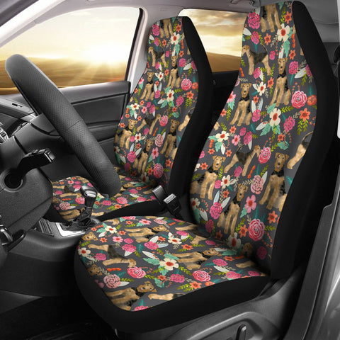 Airedale Terrier Dog Floral Print Car Seat Covers