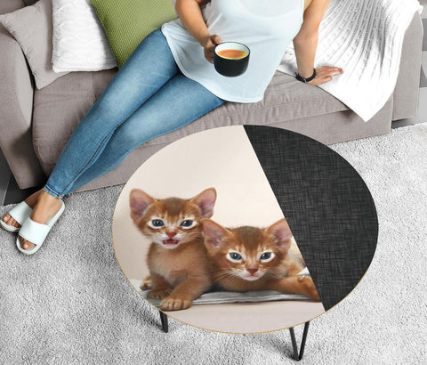 Abyssinian Cat Print Circular Coffee Table