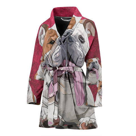 Amazing Bulldog Art Print Women's Bath Robe