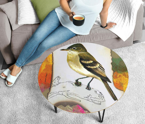 Acadian Flycatcher Bird Print Circular Coffee Table