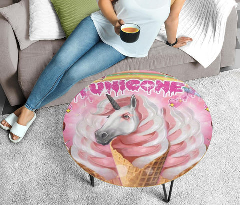 'Creamy' Unicorn Print Circular Coffee Table