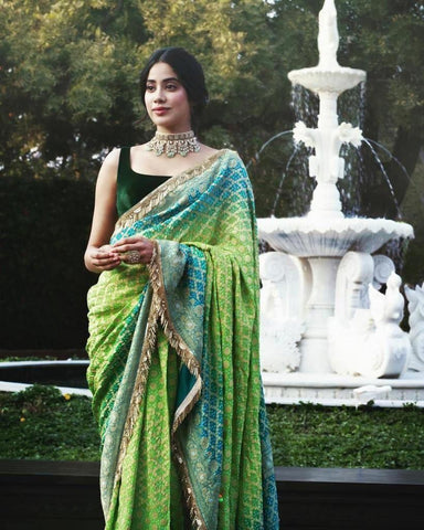 Janvi kapoor in a Bandhani saree by Manish Malhotra