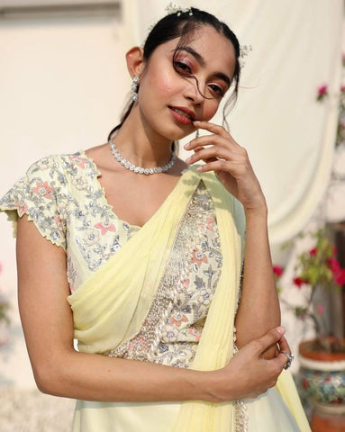 Yellow Layered Gown With Attached Dupatta