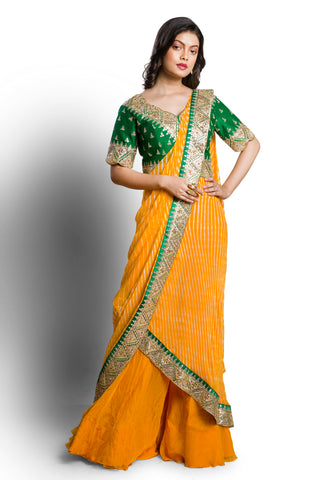 Saffron leheriya draped saree