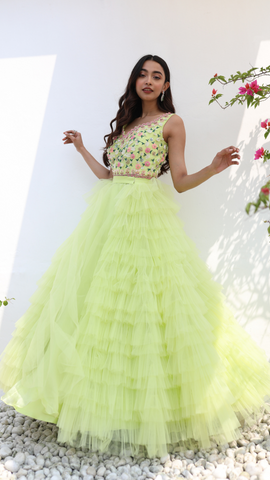 Neon Green Tulle Gown
