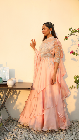 Powder Pink Layered Gown