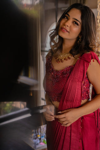 Red Pre-pleated Saree